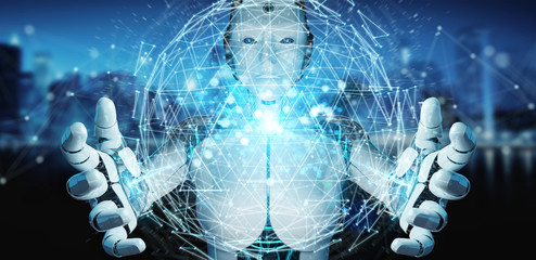 White robot woman using digital triangle exploding sphere hologram 3D rendering