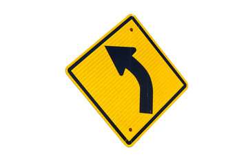 left curved arrow symbol traffic with white background Wall mural