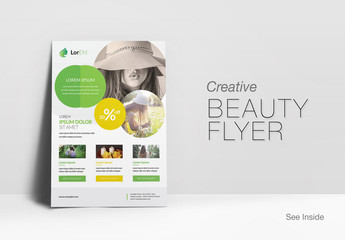 Business Flyer Layout with  Circular Photo Elements
