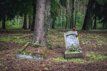 Old grave on a Evangelical graveyard in Jeziorowskie village, Masuria region of Poland