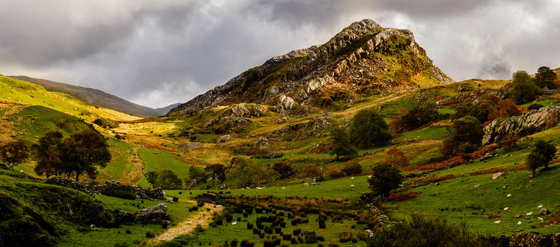 Panorama of Snowdonia countryside with volcanic sill visible
