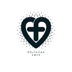 Love of God vector creative symbol design combined with Christian Cross and heart, vector logo or sign.