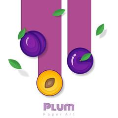 Fresh plum fruit background in paper art style , vector , illustration
