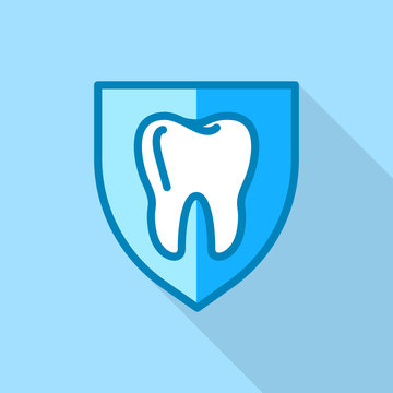 Tooth on shield logo icon. Flat illustration of tooth on shield vector logo icon for web design