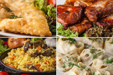 Traditional Tatar cuisine, pilaf in a cauldron, manta rays on a white plate, chebureks, fried chicken on a grill. Halal Tatar food., a set of dishes made in one set
