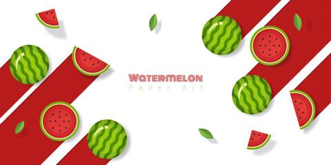 Fresh watermelon fruit background in paper art style , vector , illustration