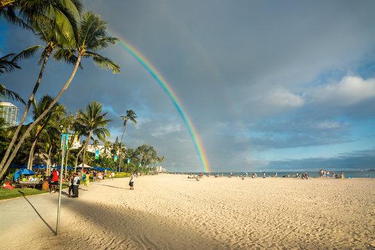 Beautiful Rainbow at the Waikiki Beach in Honolulu / Hawaii