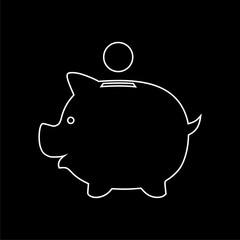 Piggy bank icon on dark background