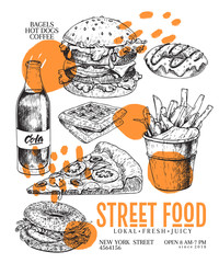 Hand drawn fast food banner. Engraved vector illustration. Burger, pizza, soda, french fries, bagel. Modern trendy typography. Restaurant, menu, street food flyer, poster.