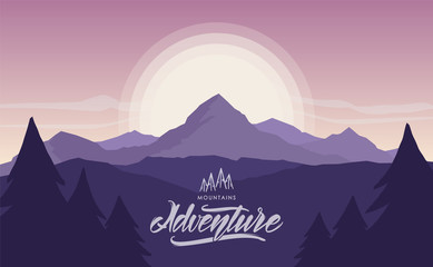 Fotobehang Aubergine Mountains sunriser landscape with hand lettering of Mountains Adventure
