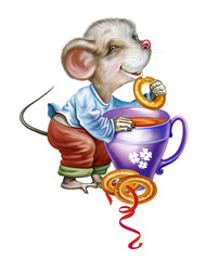 cute little mouse with a cup of tea