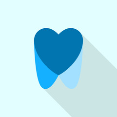 Blue dental heart logo icon. Flat illustration of blue dental heart vector logo icon for web design