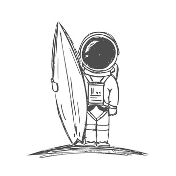 Hand drawn astronaut surfer with surfboard on white background