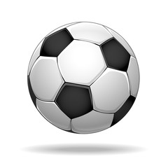 Soccer ball. Vector football bol with black abd white spots isolated on white background