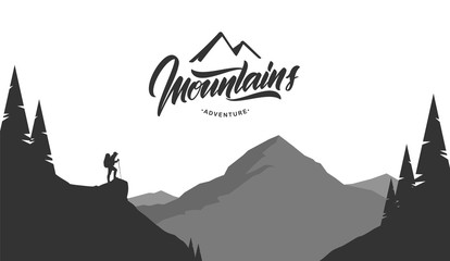 Cartoon mountains grayscale landscape with hiker on foreground