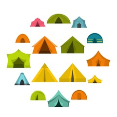 Tent forms icons set in flat style isolated vector illustration