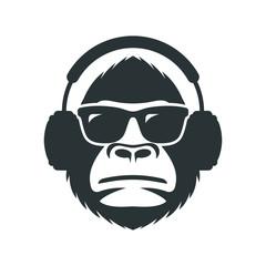 Monkey in sunglasses and headphones mascot