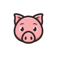 Cute Pig icon. Piggy logo