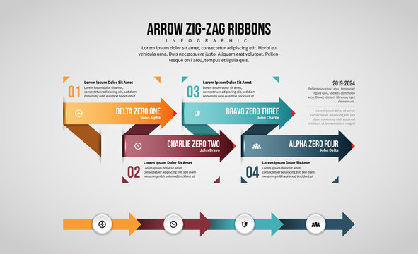 Arrow Zig-Zag Ribbons Infographic
