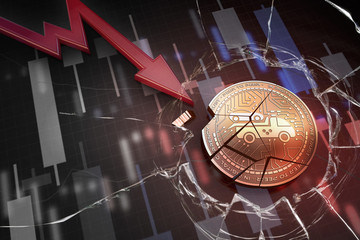 shiny golden CARTAXI cryptocurrency coin broken on negative chart crash baisse falling lost deficit 3d rendering