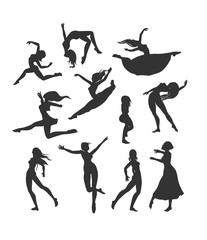 female silhouettes in dance. Silhouette of dancers (simple)