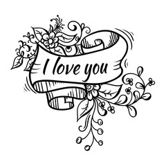 ribbon lettering flowers black outline on white background. I love you. pink flowers, green leaves.