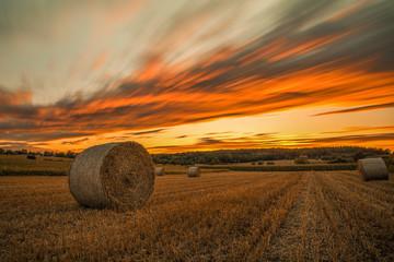 sunset bale of straw