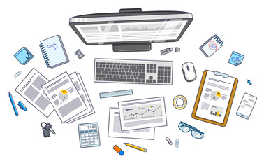 Work desk workspace top view with PC computer and analytics papers with graphs and data and stationery objects on table. All elements are easy to use separately or recompose illustration. Vector.