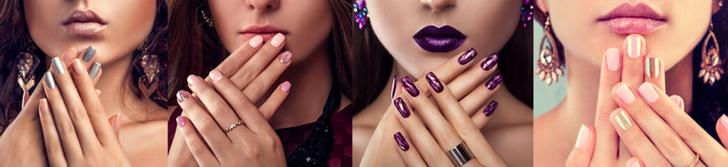 Foto op Plexiglas Manicure Beauty fashion model with different make-up and nail art design wearing jewelry. Set of manicure. Four stylish looks