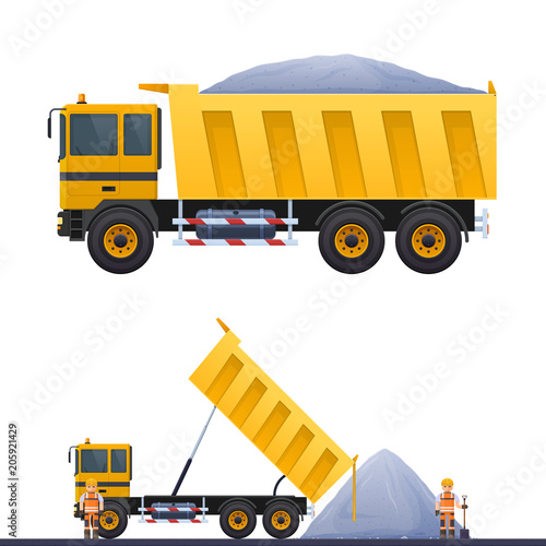 Vector Dumper And Road Worker Ilration Of Works Truck On In Helmet Yellow Dump