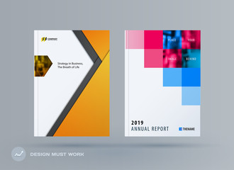 Abstract double-page brochure material design style with colourful layers for branding. Business vector presentation broadside.