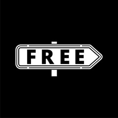 Free sign, Free vector icon on dark background