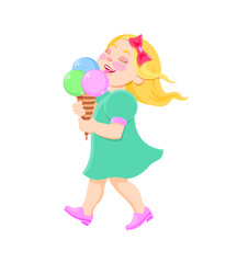cartoon girl eating ice cream