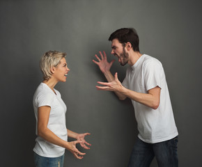 Couple in quarrel, man and woman shouting