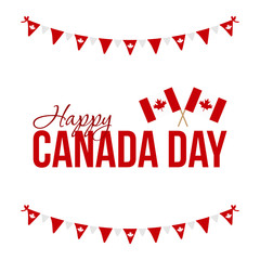 Happy Canada Day card, illustration with national canadian flags and garlands.