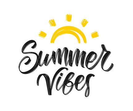 Handwritten type lettering composition of Summer Vibes with hand drawn brush sun