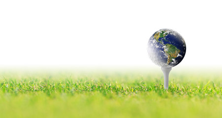 Planet Earth in a golf ball, Golf in world on white background