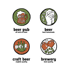 Beer pub posters, stickers, emblems