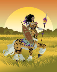 african tiger female centaur huntress