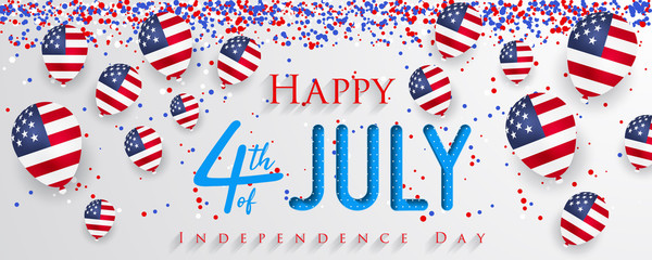 Happy 4th of July USA Independence Day greeting card with balloons and hand lettering text design.