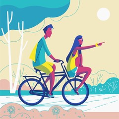 Young couple riding the bike