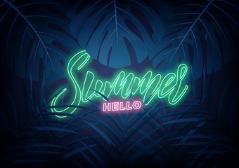 Summer. Modern design layout with neon lettering and tropic jungle leaves. Summer exotic background