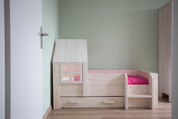 Children's bedroom modern design with wooden simple bed