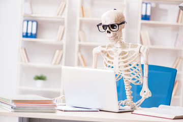 Skeleton businessman working in the office