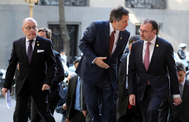 Foreign Ministers of Argentina, Chile and Mexico arrive for a joint declaration on the sidelines of the G20 Meeting of Foreign Affairs Ministers in Buenos Aires