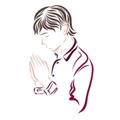 A young man praying, religion and faith