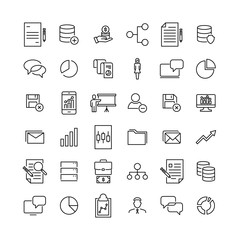 Simple collection of teamwork related line icons.