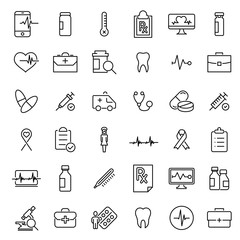 Simple set of medical care related outline icons.