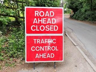 Road Ahead Closed, Traffic Control Ahead sign