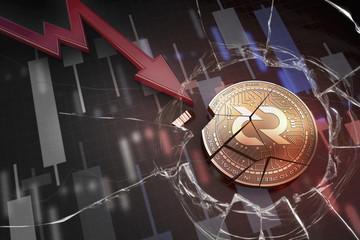 shiny golden DECRED cryptocurrency coin broken on negative chart crash baisse falling lost deficit 3d rendering